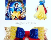 Disney Princess Snow White Inspired Hair Bow, Girls Fairy Princess Hair Bow, Girls yellow blue red leather Hair Clip, Snow White headband
