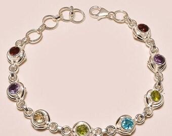 on sale New Years Sale, 20% OFF 8'' 14 gms Faceted Multi Color Gemstone, 925 solid Sterling Silver Bracelet designer multi gemstone bracelet
