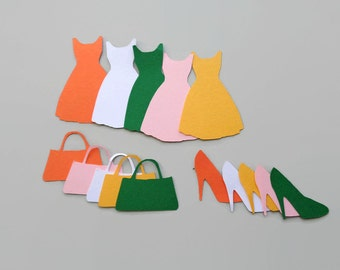 156 die cut dresses handbags and shoes, Girls Paper Die Cuts, Paper Shapes, Paper Clothes Shapes, Confetti, Card Making supplies