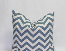 SALE Blue Pillows Chevron Pillows Decorative Throw Pillows Cushion Covers Denim Blue on Natural, Pillow Cover 16 x 16 Inches Blue Accent Pil