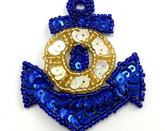 "Anchor Appliqué with Blue and Gold Sequins and Beads, 2.5"" x 2"" -JJ1191BG-B004A"