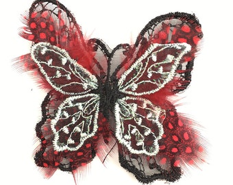 "Choice of Color Embroidered Butterfly with Feathers and Pin, 2.5"" x 2"""