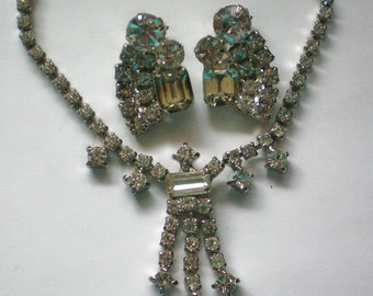 Clear Rhinestone Necklace and Clip Earrings - 4090