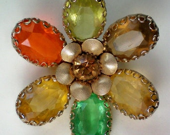 Fabulous Multi-colored Autumn Flower Brooch - 4116