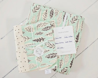 Heirloom Baby Quilt Collection  // Hello Bear Mint Leaves // Modern Quilt FREE Shipping