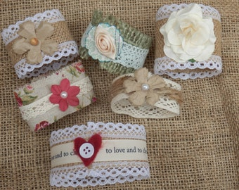 Hand crafted rustic napkin rings.