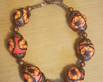 Beaded Bracelet - Antique Divinity - Polymer Clay Jewelry - Black Trim Bracelet - Bronze Bracelet - One Of A Kind - Gift For Her - Handmade