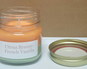 Soy Candle - Citrus Breeze French Vanilla Sweet Dreams - Mason Jar Candle - Scented Candle - 8 oz Candle - Refreshing Candle - Hand Poured