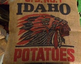 Mid 1900's US No. 1 Idaho Potatoes Burlap Bag, WB Savage Produce Co. Kimberly Idaho, Excellent Condition
