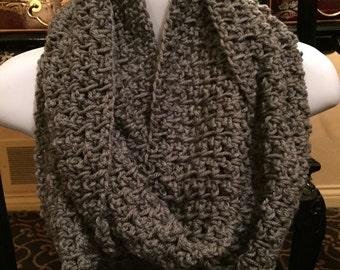 Gray crochet infinity scarf, crocheted infinity scarf