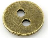 "Antique Bronze Metal Sewing Button 3/8"" Dia - 2 Holes - 16 Pieces"