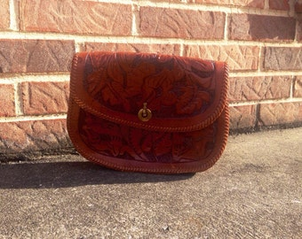 Vintage embossed leather clutch, hippie purse, vintage clutch, hobo, embossed leather, 1970s purse, vintage bag, tooled leather