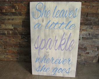 She Leaves A Little Sparkle Distressed Pallet Wood Sign Little Girl Room Decor