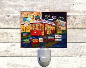"Night Light, ""Dining Online"", New Orleans Streetcar,  Handmade, Copper Foiled"