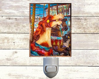 Newborn Night Light - Carousel 4 - New Orleans art -  Handmade - Copper Foiled - Childrens room - Nursery Art - Lighting -