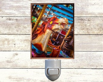 Newborn Night Light - Carousel 9 - New Orleans art -  Handmade - Copper Foiled - Childrens room - Nursery Art - Lighting -