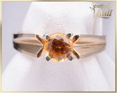 Vintage ~ Ladies Citrine Solitaire Ring ~ 14K Yellow Gold ~ 5 mm Brilliant Cut Natural Citrine ~ STR_013 ~ 800.00