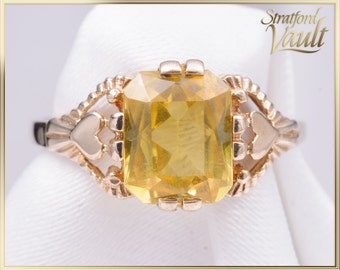 Vintage ~ Yellow Created Sapphire Ring ~ 14k Yellow Gold ~ 8.0 x 6.5 mm Synthetic Emerald Cut Yellow Sapphire ~ STR_015 ~ 600.00