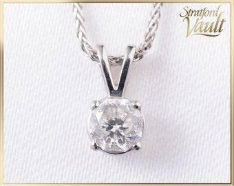 Vintage ~ Ladies Diamond Pendant ~ 14K White Gold ~ 0.46ct G/Si1 Eighty-Eight Cut Diamond Solitaire ~ With Chain ~ AH17193 ~ GIA ~ 3500.00
