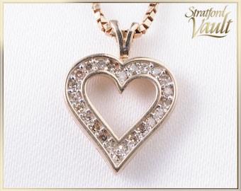 Ladies Diamond Heart Pendant ~ 10K Yellow Gold ~ 0.24ctw Genuine Single Cut Diamonds ~ 10k Gold Twisted Box Link ~ STR17262 ~ GIA ~ 1500.00