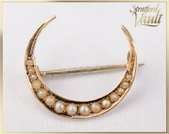 Antique ~ Art Nouveau ~ Seed Pearl Crescent Moon Pearl Pin ~ 14k Yellow Gold ~ 14 Bead Set Genuine Seed Pearls ~ STR_055 ~ 300.00