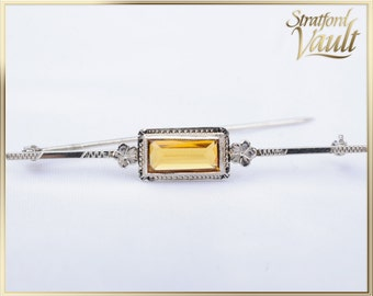 Antique Art Deco ~ Citrine Bar Pin Brooch ~ 10k White Gold Milgrain Setting~ 0.90 ct Genuine Emerald Cut Citrine ~ STR17311 ~ GIA ~ 800.00
