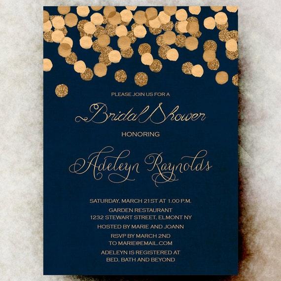 Gold And Blue Wedding Invitations: Navy Blue Gold Bridal Shower Invitation By DivineGiveDigital