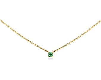 Emerald Necklace, Emerald Neckalce Gold, Natural Emerald Necklace, Genuine Emerald Necklace, 14k Solid Gold Necklace, Birthstone Necklace