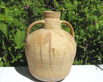 Antique Pottery, Primitive Pottery, Greek Folk Art, Farmhouse Decor, Rustic Pottery Crock, Terra Cotta Decor, Shabby Chic Pottery,