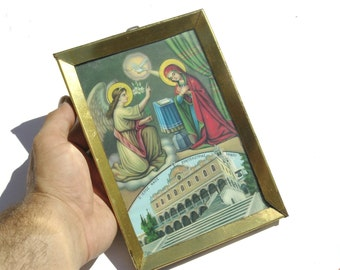 Annunciation, Catholic Art, Religious Art, Christian Wall Decor, Religious Metal Icon, Orthodox Icon, Religious Wall Hanging, Baptism Gift