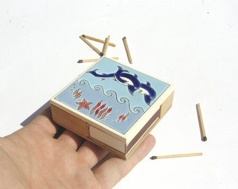 Decorative Match Holder, Dolphin Decor, Ceramic Matchbox, Ceramic Match Holder, Matches, Dolphin Art, Wooden Matchbox, Ceramic Decor,
