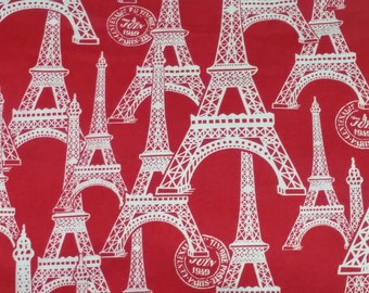 Eiffel Tower Paris themed Quilting Fabric - 44.8 inches wide x 36 inches long
