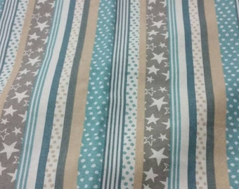 Vintage print Stripes and Stars Quilting Fabric - 44.8 inches wide x 36 inches long