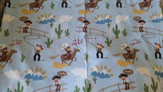 Items similar to vintage kids cowboys fabric print blue for Vintage childrens fabric prints