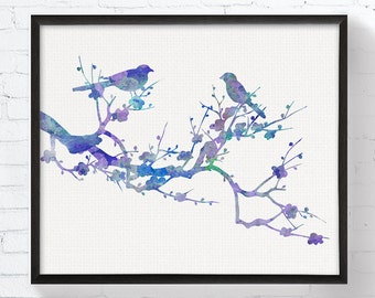 Bird Couple On Tree Branch, Bird Illustration, Bird Watercolor, Bird Painting, Bird Wall Decor, Nature Home Decor, Pink, Purple, Turquoise