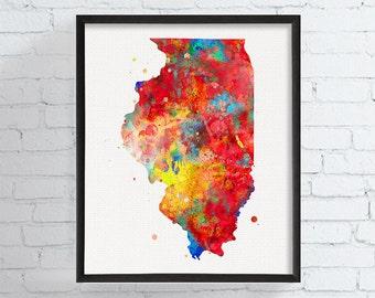 Illinois Map, Illinois State Art, Watercolor Map, Illinois Poster, Illinois Wall Decor, Travel Art, Dorm Decor, Colorful Home Decor