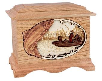 Oak Salmon Boat Fishing Ambassador Wood Cremation Urn