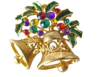 Vintage Christmas Bell Pin / Vintage Jewelry / Holiday Jewelry / Costume Jewelry
