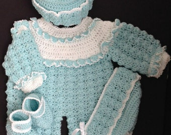 Baby Girl (or Boy) Crocheted Romper Outfit