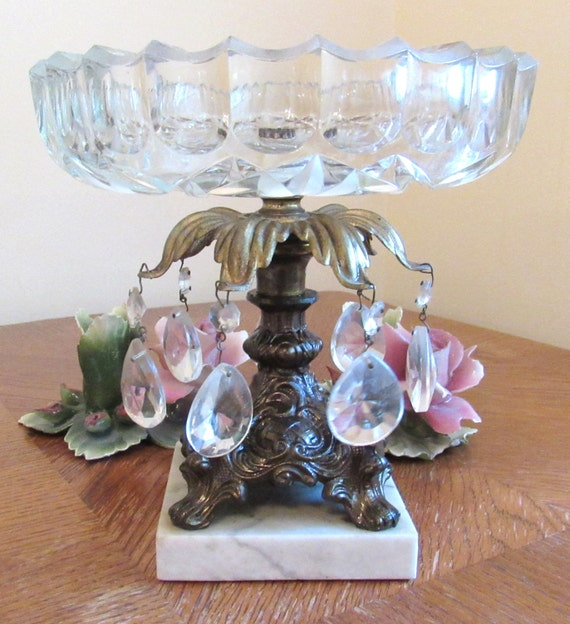 Gilt bronze centerpiece compote candy dish w prisms crystal