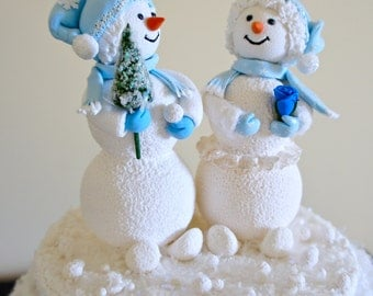 Snowman Cake Topper. Bride and Groom Wedding Cake Toper,Snowman Wedding Cake Topper