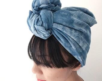 Shibori indigo cotton scarf - Rotary