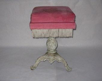 Antique vanity stool adjustable pink cushion cast iron base white