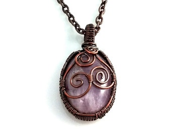 February Birthstone Necklace,  Amethyst Bohemian Copper Necklace with Natural Stone Cabochon, Choose Necklace Length, February Birthstone