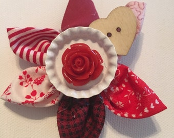 Be Mine Fabric Flower Hair Clip (Valentines Day)