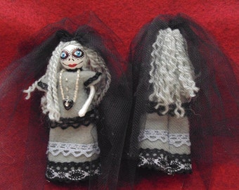 Day of the Dead Miniature Art Doll, The Grey Lady,  Halloween Doll, Creepy Doll