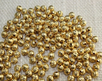 6mm Gold Fluted Brass Beads (36 Pieces)