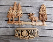 Moose Decor Welcome Sign ...