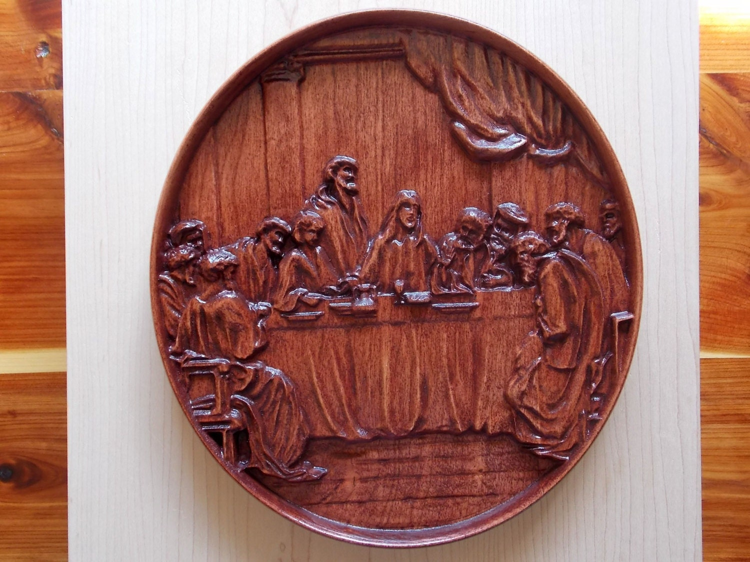 The last supper wood wall art carving