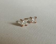 Tiny 1+ carat Uncut Diamond Studs - White/Silver Raw Diamond Earrings - Claws Setting - Rough Diamond Studs- April Birthstone Earring